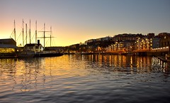 Harbour sunset (Nige H (Thanks for 7.5m views)) Tags: bristol bristolharbour city cityscape sunset england winter water reflection ssgreatbritain