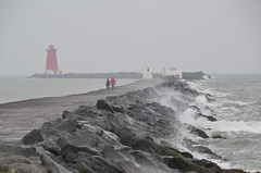 Wet and wild - F-DSC_0192 (fotosbyjohnh) Tags: ireland dublin misty high nikon waves tide overcast stormy tamron dull irishsea dublinbay southwall ringsend poolbeglighthouse nikond5100