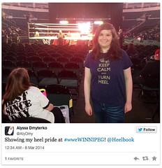"Alyssa Dmyterko in her ""Keep Calm and Turn Heel"" shirt"