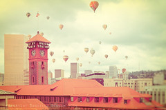 Go By Balloon (Danielle Denham-Skinner) Tags: pink orange vintage crossprocessed whimsy cityscape pastel portlandoregon unionstation bigpink hotairballoons fauxlomo usbankcorptower canon6d