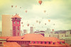 Go By Balloon (Danielle Denham-Skinner) Tags: pink orange vintage crossprocessed whimsy cityscape pastel portlandoregon unionstation bigpink hotairballoons fauxlomo usbankcorptower canon6d