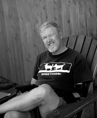 Bill at Camp Quetico (HOARYHEAD) Tags: portrait blackandwhite bw bill greetings bolobilly nikond700 nikon28300mm