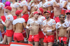 Red Short Shorts Pride Patrol at Amsterdam Gay Pride (plaintruthiness) Tags: amsterdam amsterdamgaypride shortshorts noshirt shirtless abs muscles hottie gayman sixpack blond dutchboy dutchboys dutchman pridepatrol canalpride pridefloats gayparade gay gays gaystagram instagay parade gayboy gayboys gayboi canal pride