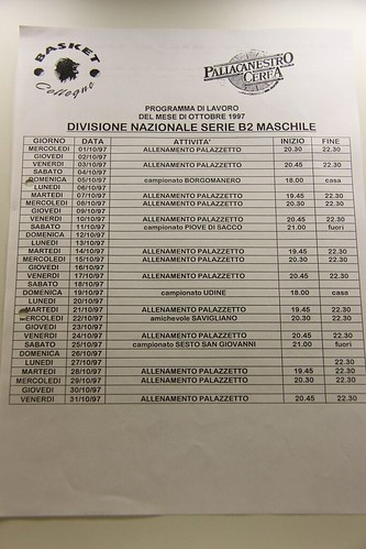 Programma Mensile Serie B2 Maschile stagione 1997/98