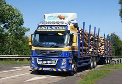 James K. Mitchell Volvo FM500 6W Drawbar Outfit M77 Kilmarnock. (Malcie Man) Tags: k james volvo timber transport mitchell fm kilmarnock interchange m77 bellfield drawbar