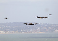 Lancasters (Bernie Condon) Tags: plane vintage flying display aircraft military airshow eastbourne lancaster preserved bomber warbird raf avro rcaf bbmf pa474 bombercommand cwhm cvera