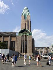 Helsinki central station clocktower (Khraym The Cheetah) Tags: sky panorama suomi finland helsinki panoramic clocktower 2014