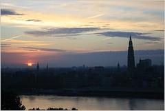 Sunrise ... (Aquarius15) Tags: summer sky water skyline architecture clouds sunrise belgium antwerp riverscheldt