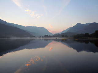 Autumn Sunrise on Padarn lake.