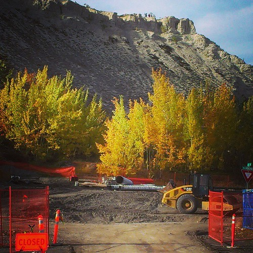 Road work, lot of pipe-fixing activity in downtown #yxy before ground freezes #Yukon #fall