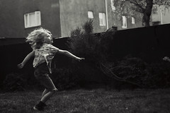 Summer, welcome, glad you're here. (Dalla*) Tags: boy summer portrait playing wall fence garden outside kid jump play reykjavik wwwdallais