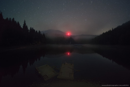 Ukraine. Zakarpattia. Night on the lake Synevir