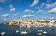 11/31: Postcard from Malta (judi may - more off than on) Tags: october2016amonthin31pictures malta marina blue bluesky clouds boats buildings architecture crane canon7d
