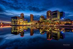 Media City (Michael Watson Photography) Tags: bbc blue bridge coronationstreet holidayinn hour itv lights mediacity red reflection salfordquays tv water salford england unitedkingdom gb