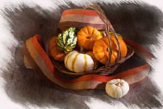 Pumpkins and Gourds (lclower19) Tags: pumpkins gourds basket white orange artistaimpresso painterly frame ribbon atsh