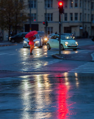Red in the rain (Antti Tassberg) Tags: 135mm auto autumn bokeh car city cityscape dof fall kamppi katu kaupunki lens prime reflection street syksy urban vehicle helsinki
