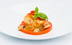 Cernia al Forno su Pappa di Pomodoro e Frutti di Mare (lacookagency) Tags: photoshoot still life chef food dish white restaurant styling squid sicily background lacookagency gourmetidentity foodstyle