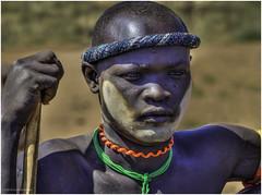 Mursi Tribe Warrior (Luc V. de Zeeuw) Tags: ethiopia hairband man mun mursi omo omovalley paint stick tribe warrior southernnationsnationalitiesandpeoplesregion