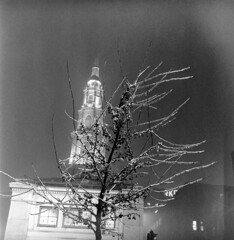020459 03 (ndpa / s. lundeen, archivist) Tags: nick dewolf nickdewolf blackwhite photographbynickdewolf tlr bw 1959 1950s february winter boston massachusetts beaconhill night nighttime wintersnight park common bostoncommon tree branches snow snowy snowfall trees film 6x6 mediumformat monochrome blackandwhite light lights church steeple building parkstreetchurch ice icy coveredwithice coveredinice glazed transitstation