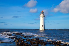 Perch Rock Lighthouse (rustyruth1959) Tags: clouds windows light glass white blue ship horizon skyline rocks seascape surf sky outdoor waves sea tower building structure lighthouse perchrock perchrocklighthouse newbrighton thewirral tamron16300mm nikond3200 nikon