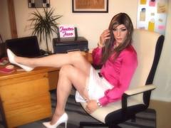 Stocking Top Desk Job (jessicajane9) Tags: tv cd lgbt crossdressing crossdresser crossdressed m2f trans transgender feminization feminized transvestite tgirl tgurl tg satin