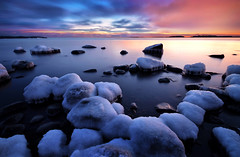 Together In The Last Light (tinamar789) Tags: ice rocks sea seashore seascape sunset evening low light landscape horizon blue hour cold frost frozen snow winter water lauttasaari helsinki finland