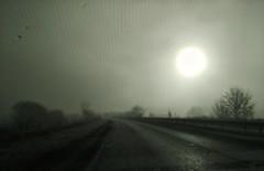 Windscreen (tubblesnap) Tags: view through car windscreen heating elements mist misty low watery sun