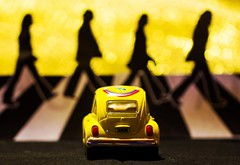 Macro Mondays - Beatles/Beetles ((Raffaella@)) Tags: hmm giallo yellow macromondays beatles macro bokeh auto abbeyroad london monday luned light luce home ininterni