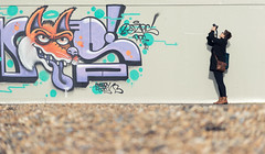 The Shutterbug [Explored] (ShrubMonkey (Julian Heritage)) Tags: brighton graf graffiti street art candid people mural sony a7 beach shutterbug photographer photog tog