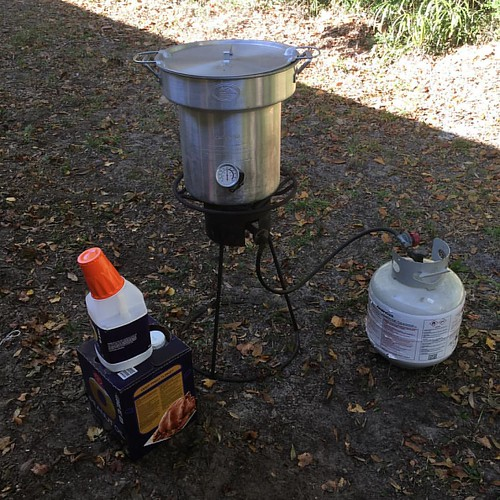 Frying the first of 2 turkeys today. 🍁