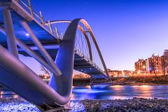 St. Patrick's Island bridge and Bow River (Bluesky251) Tags: bow river building sky night dark bridge beautiful water smooth reflection light calgary alberta home canada urban star bright
