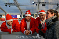 Stephen, Paul and Liam getting interviewed by the Guide Liverpool (James O'Hanlon) Tags: santadash santa dash katumba liam smith paul stephen liamsmith paulsmith stephensmith alankennedy philipolivier tinhead alan kennedy btr juliana ritchie photo shoot press ice rink icerink lfc