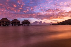 Pageant (Tracey Rennie) Tags: sunrise beach pacific moorea frenchpolynesia bungalows clouds