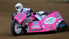 Qld Sidecar Championships (Alan McIntosh Photography) Tags: action sport sidecar speedway race motorsport motorcycle pink