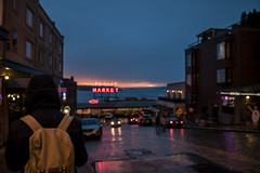 Rainy Seattle Day (whegedusich) Tags: market ocean pikeplace seattle sign washington water