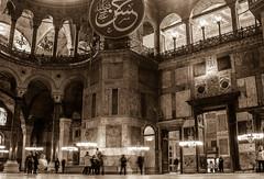 Hagia Sophia Interior (derek.dpr) Tags: bw black monochrome sepia architecture turkey arch interior basilica arches istanbul architectural sophia hagia sofya haghia turkie