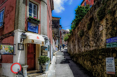 Quaint Sidewalk In SIntra (Butch Osborne) Tags: travel portugal beautiful wall architecture fairytale town store cafe amazing interesting fantastic colorful awesome sintra scenic scene unesco adventure sidewalk traveling fabulous hdr mustsee portugese bucketlist