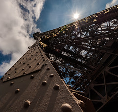 Reaching to the Sky (yourfriendian) Tags: city sky sun paris france monument clouds day îledefrance eiffeltower vivid structure