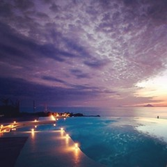Beautiful #sunset #pool #infinity #lights (claudiaveja) Tags: square squareformat rise iphoneography instagramapp uploaded:by=instagram