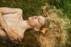 Varuna's Decay (nyctophiliaconsequat) Tags: art girl grass forest butterfly nude photography model decay damaged