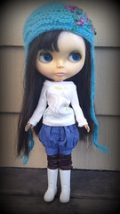 Blythe Doll 1/6 Scale Romantico Notions Blue Chambray Burberry Fabric Bloomer Bubble Shorts