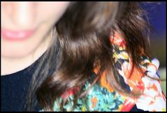 Brunette Macro Portrait (Fanny Janssen OAP) Tags: portrait woman abstract flower macro floral girl face up closeup female hair neck nose pattern close top flash blurred part brunette wavy chin neckline