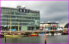Scotland Glasgow the commonwealth games flotilla docked at the BBC which is the English government propaganda outlet in Scotland 26 July 2014 by Anne MacKay (Anne MacKay images of interest & wonder) Tags: by anne scotland 26 glasgow picture july games bbc mackay docked commonwealth flotilla 2014