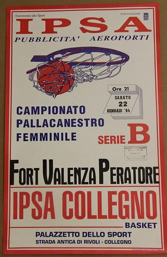 Manifesto Collegno Basket vs. Valenza - Serie B Femminile