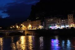 Les quais de Grenoble (LouRousselot) Tags: grenoble eau lumire reflet pont nuit quais