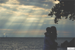 Shawn & Mariam | Colchester Beach (Liam Higgins Photography) Tags: trees wedding light boy sunset portrait sky woman lake ontario canada guy love beach girl beautiful silhouette happy photography golden photo engagement couple romance liam hour windsor romantic higgins beams