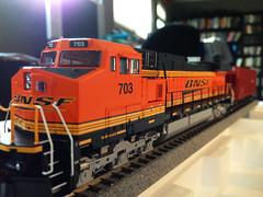 Model Train - BNSF 703 (hupspring) Tags: train model modeltrain track diesel engine hobby locomotive ho traintrack bnsf kato modelrailroad hoscale 1871 dash944cw dash9 c449w athearn heritageiii bnsf703 katounitrack