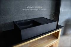 "36"" x 22"" Black Granite Apron Stone Kitchen Sink - NORWAY SHADOW (LivingROC USA) Tags: black kitchen stone farmhouse sink apron granite shanxi kichen"