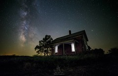 """From Within"" by Aaron Groen @HomeGroenPhotography (HomeGroenPhotography) Tags: instagramapp uploaded:by=instagram aarongroen homegroenphotography milkyway stars galaxy astrophotography astronomy space abandonedhouse brickhouse southdakota canoneos6d rokinon14mmf28 lagoonnebula"
