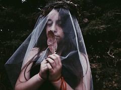 Love me (ornellamarchese) Tags: flowers pale innocent girl withe black red faery queen diadem crown wonderland catched nature people portrait braches dream authum leaves sin freakles velum dark death marrying bride
